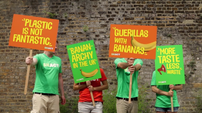 Snact bananarchists with delicious protest placards