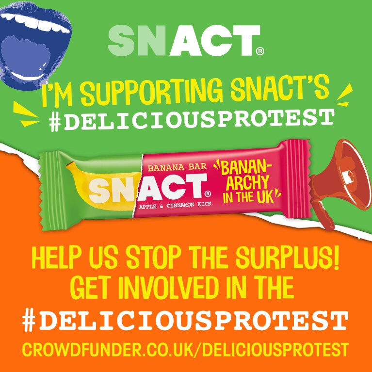 Social media shareable image supporting Snact's delicious protest